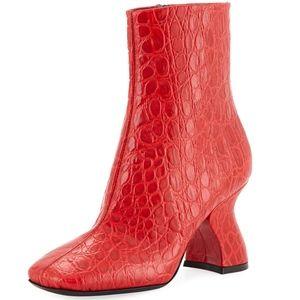 DRIES VAN NOTEN Crocodile-Embossed Ankle Boots